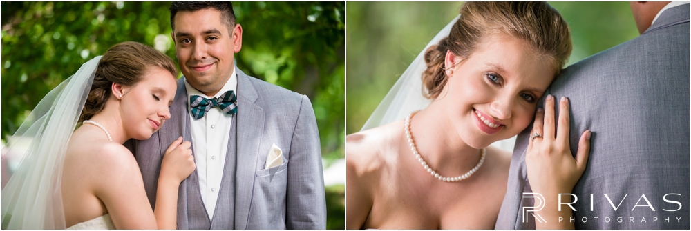 Classic Summer Wedding at Berg Event Space | Two close-up images of a bride and groom embracing on their wedding day in the gardens at The Nelson Atkins Museum of Art in Kansas City.