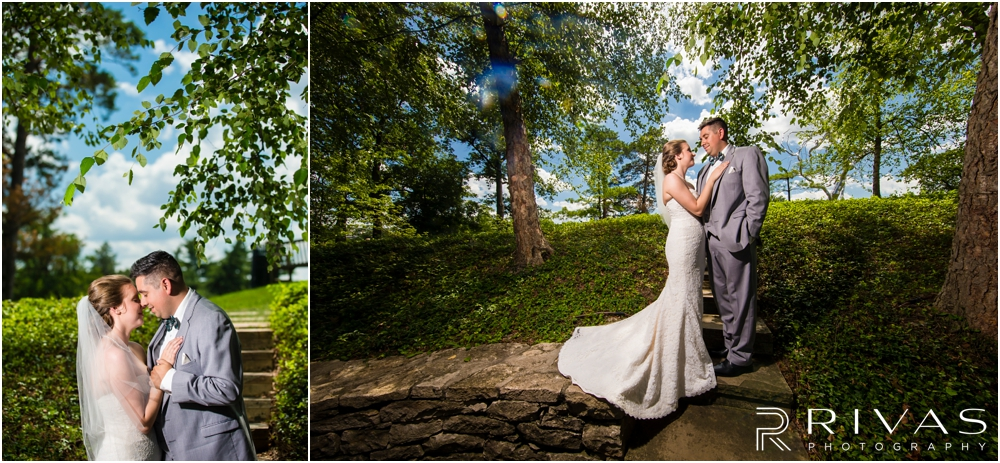 Classic Summer Wedding at Berg Event Space | Two colorful portraits of a bride and groom embracing on their wedding day in the gardens at The Nelson Atkins Museum of Art in Kansas City.