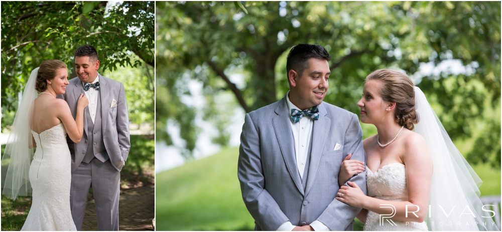 Classic Summer Wedding at Berg Event Space | Two candid pictures of a bride and groom embracing on their wedding day in the gardens at The Nelson Atkins Museum of Art in Kansas City.