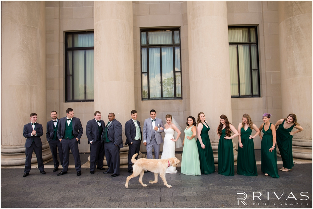Classic Summer Wedding at Berg Event Space | A candid image of a dog running in front of a bride and groom with their wedding party at The Nelson Atkins Museum of Art in Kansas City.