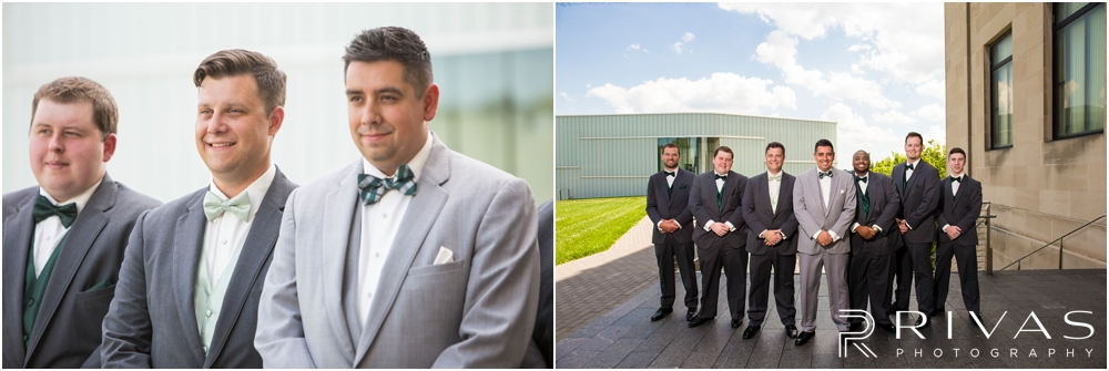 Classic Summer Wedding at Berg Event Space | Two candid photos of a groom with his groomsmen at The Nelson Atkins Museum of Art in Kansas City.