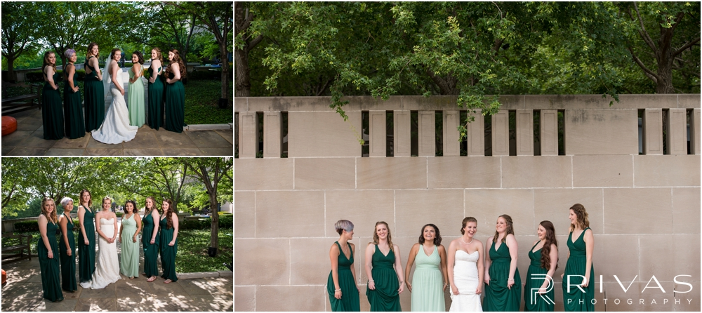 Classic Summer Wedding at Berg Event Space | Three images of a bride and her bridesmaids dressed in green at The Nelson Atkins Museum of Art in Kansas City.