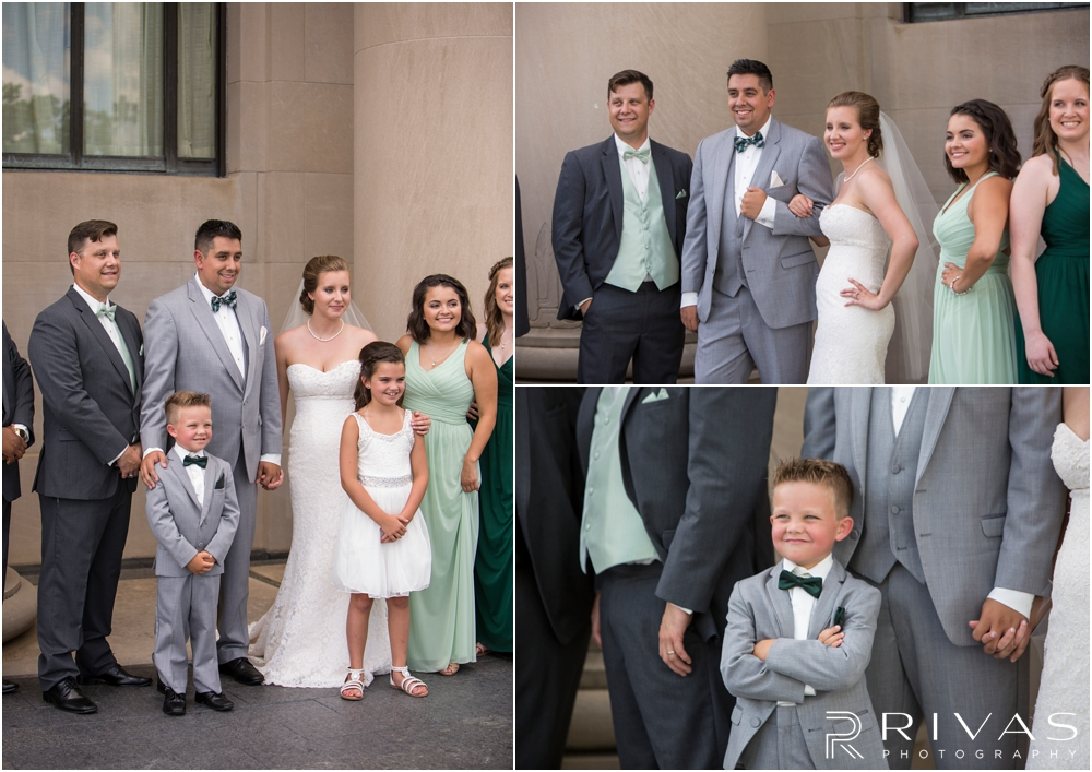 Three candid photos of a bride and groom with their wedding party at The Nelson Atkins Museum of Art in Kansas City.