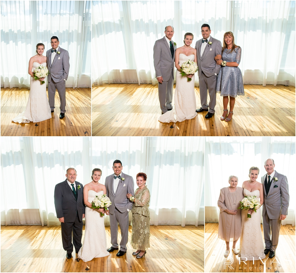 Classic Summer Wedding at Berg Event Space | Four formal family photos of a bride and groom with their parents before their wedding at Berg Event Space in Kansas City.