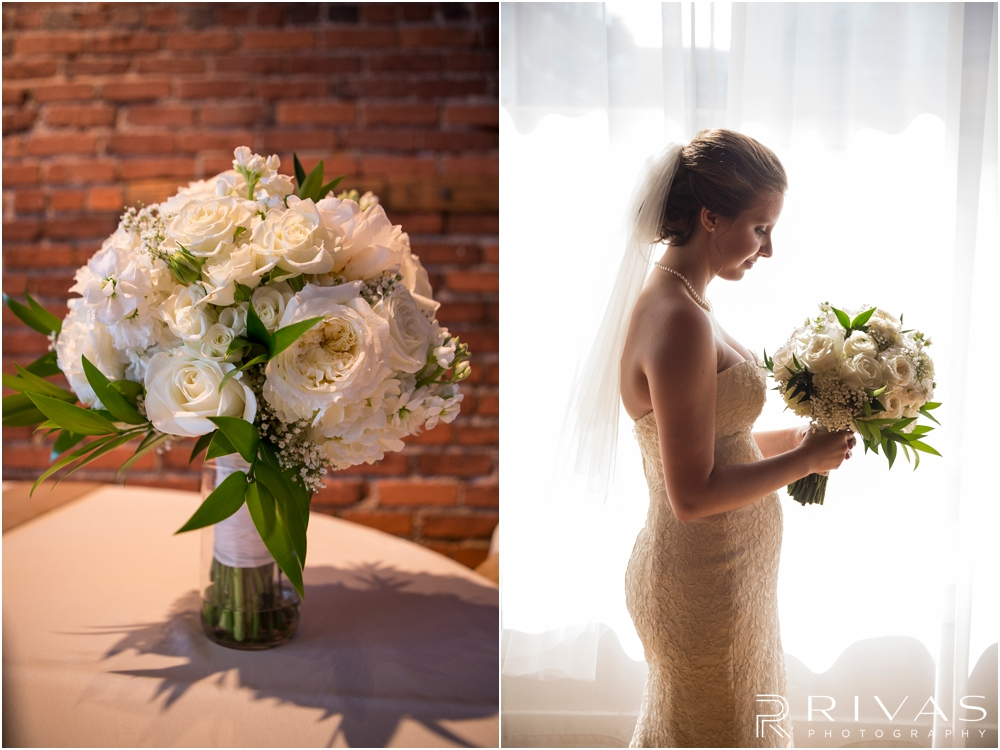 Classic Summer Wedding at Berg Event Space | Two candid photos of a bride holding her bouquet and a close-up of her bouquet at Berg Event Space in Kansas City.