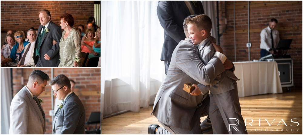Classic Summer Wedding at Berg Event Space | Three candid pictures of a groom's family and groomsmen walking down the aisle to the wedding at Berg Event Space in Kansas City.