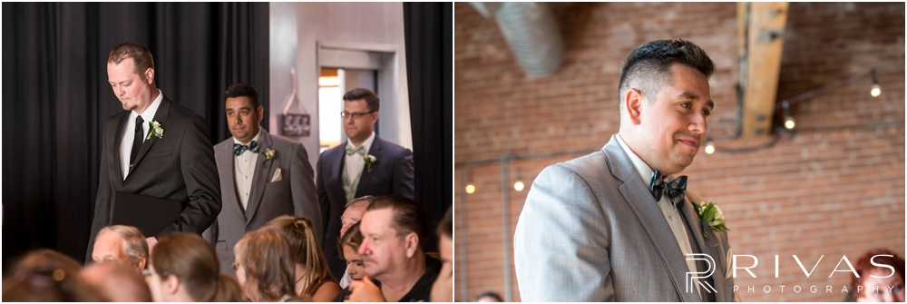 Classic Summer Wedding at Berg Event Space | Two candid images of a groom walking down the aisle to his wedding at Berg Event Space in Kansas City.
