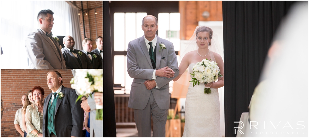 Classic Summer Wedding at Berg Event Space | Three candid photos of a groom waiting for his bride and of his bride walking down the aisle to their wedding at Berg Event Space in Kansas City.