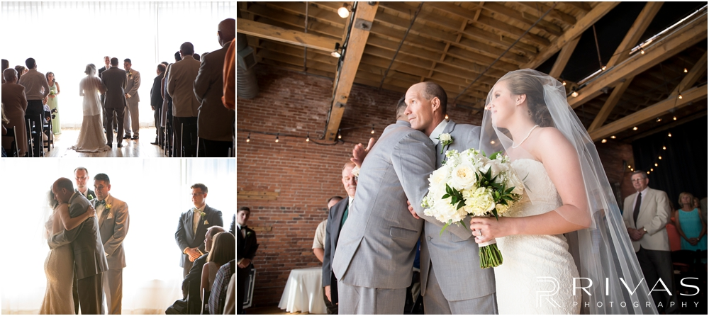 Classic Summer Wedding at Berg Event Space | Three candid photos of a bride's father giving her away at her wedding at Berg Event Space in Kansas City.