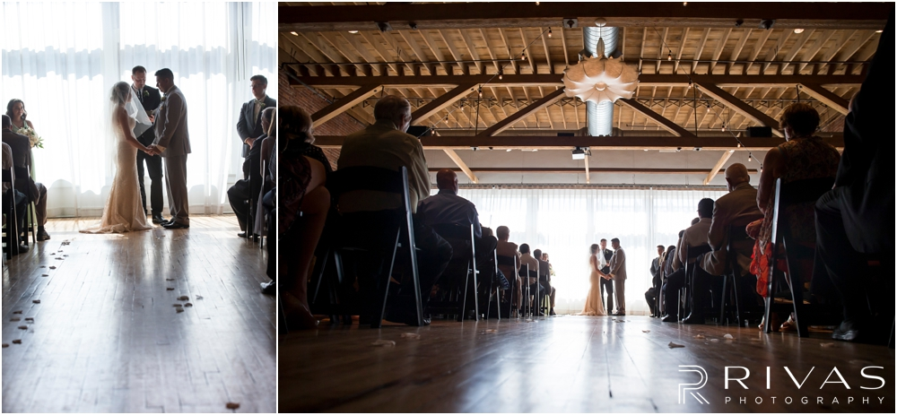 Classic Summer Wedding at Berg Event Space | Two pictures of a bride and groom during their  wedding at Berg Event Space in Kansas City.