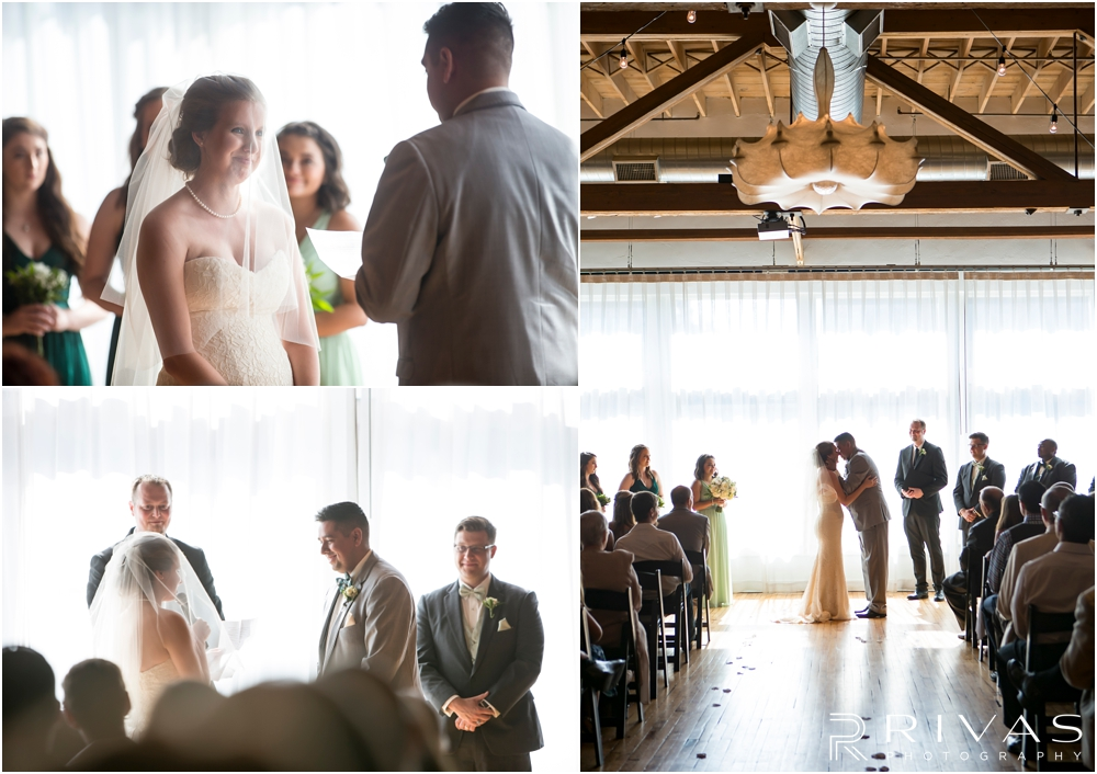 Classic Summer Wedding at Berg Event Space | Four candid pictures of a bride and groom sharing their vows and first kiss during their wedding at Berg Event Space in Kansas City.