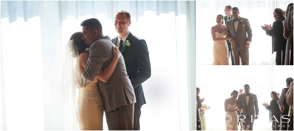 Classic Summer Wedding at Berg Event Space | Three candid images of a bride and groom hugging just after their wedding ceremony and walking back down the aisle after their wedding at Berg Event Space in Kansas City.