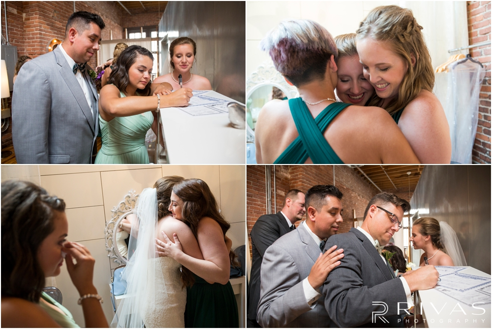 Classic Summer Wedding at Berg Event Space | Four candid photos of a bride and groom embracing friends and family in celebration after their wedding ceremony at Berg Event Space in Kansas City.