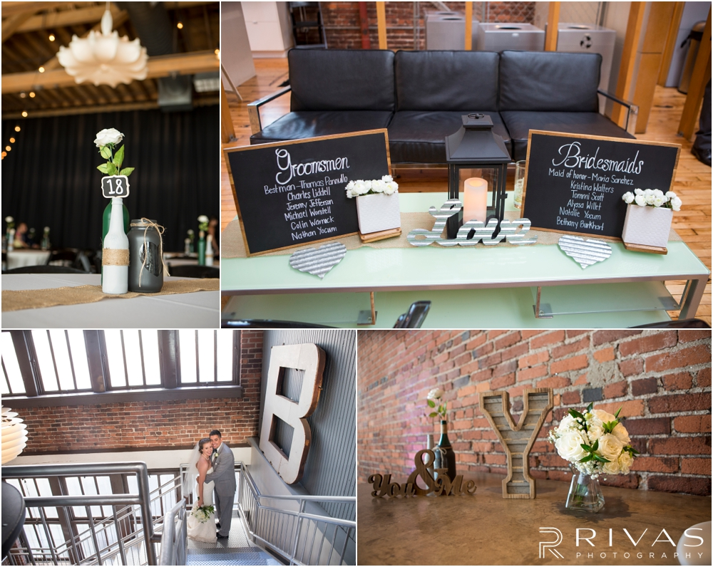 Classic Summer Wedding at Berg Event Space | Four photos of wedding and reception decor set up at Berg Event Space in Kansas City.
