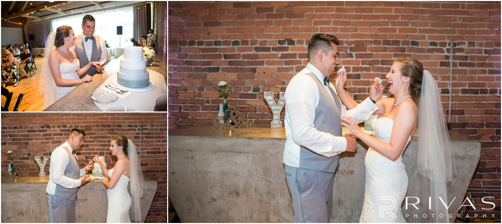 Classic Summer Wedding at Berg Event Space | Three candid pictures of a bride and groom cutting their cake during their wedding reception at Berg Event Space in Kansas City.