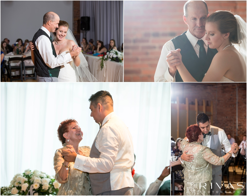 Classic Summer Wedding at Berg Event Space | Four candid images of a bride and groom dancing with their parents during their wedding reception at Berg Event Space in Kansas City.