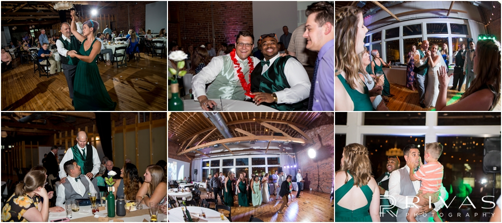 Classic Summer Wedding at Berg Event Space | A series of candid moments of friends and family dancing during a wedding reception at Berg Event Space in Kansas City.