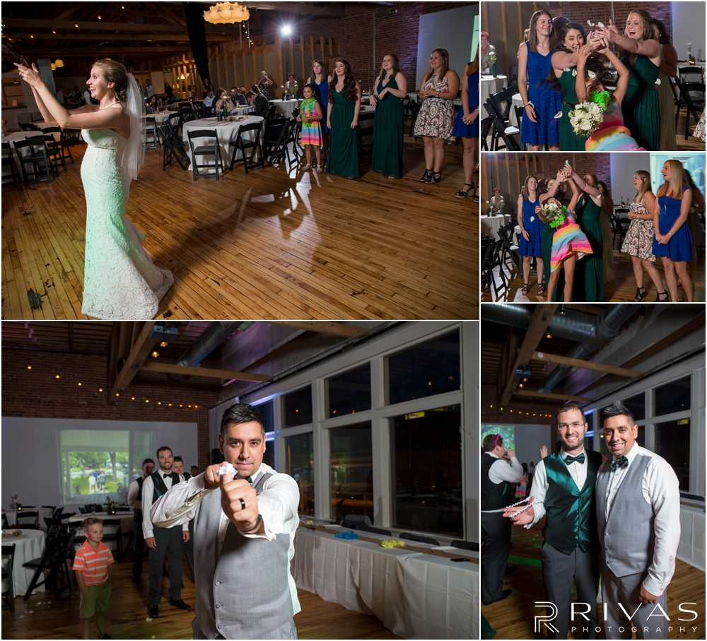 Classic Summer Wedding at Berg Event Space | A series of candid photos of a bride throwing her bouquet and a groom tossing a garter during a wedding reception at Berg Event Space in Kansas City.
