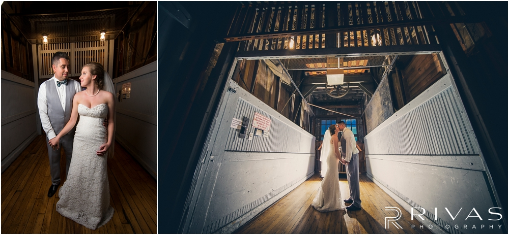 Classic Summer Wedding at Berg Event Space | Two dramatic portraits of a bride and groom on the freight elevator at Berg Event Space in Kansas City.