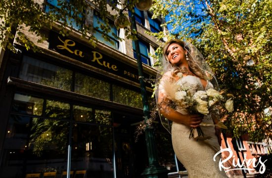 Harvest Goddess Bride | Kansas City Wedding Photographers | Rivas Weddings | A photo of a fall bride with a neutral bouquet taken in front of Kansas City's LaRue Baltimore Event Space.