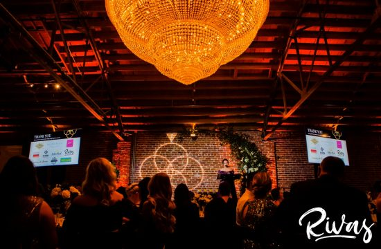 Vendor Choice Awards Gala   A wide picture including The Guild chandelier of Britney Jones welcoming gala attendees to the awards ceremony.