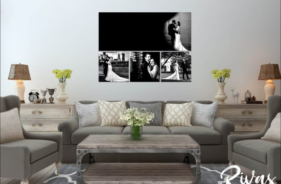 Wedding Picture End Goals | A graphic rendering of a living room with a cluster of four wedding pictures above the couch.