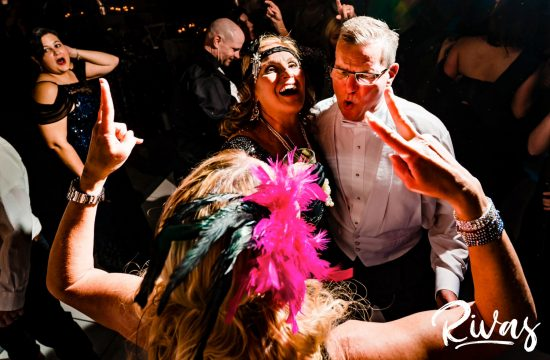 2019 PWG Masquerade Ball | A grouping of 5 images of PWG Masquerade Ball Attendees dancing and celebrating to the sounds of KC Flo at The Abbott in downtown Kansas City.